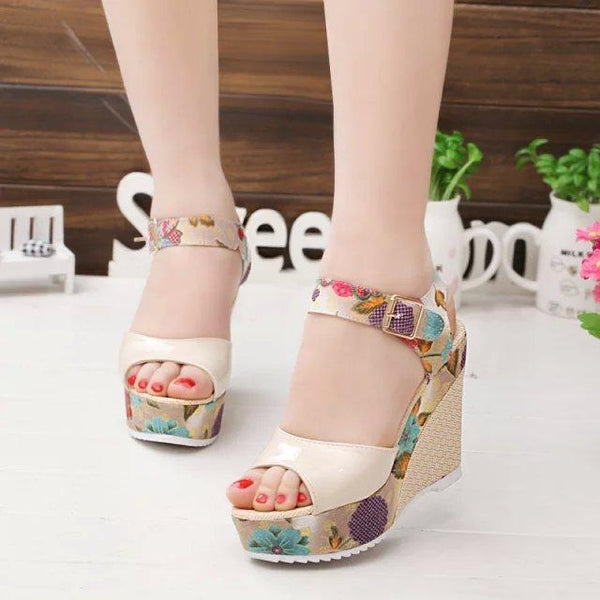 Women Summer Platform Wedges Sandal Shoes Floral High Heels Open Toe Sandals