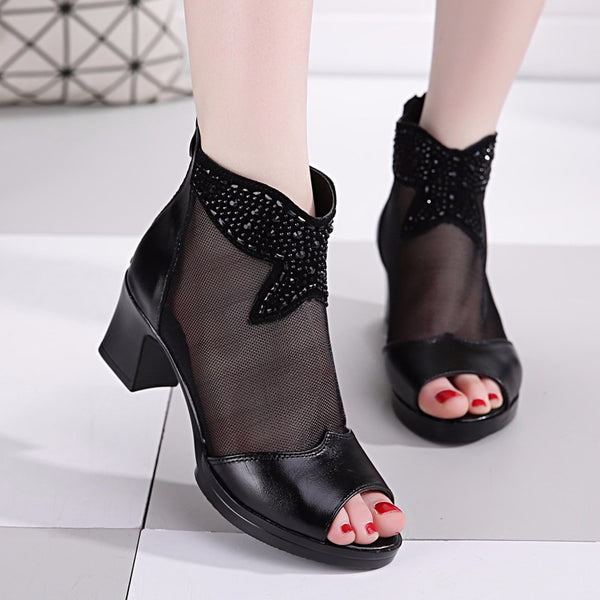 Women Lace Low Heel Sandals Mesh Black Peep Toe Shoes