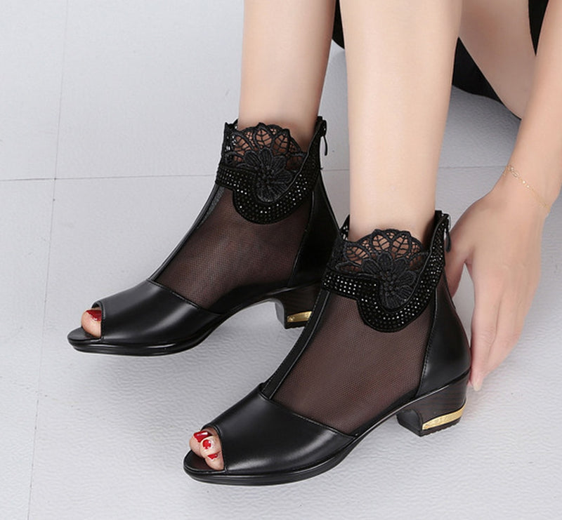 Women Lace Sexy High Heel Sandals Shoes Black Mesh Peep Toe Shoes