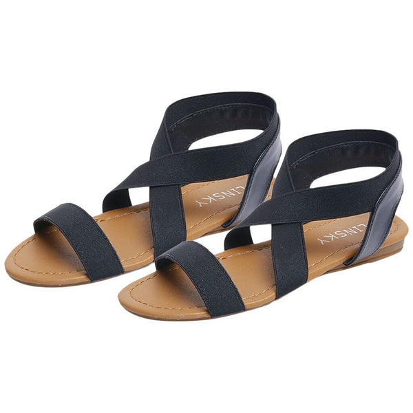 Women's Low Heel Sandals Shoes Beach Anti Skidding Cross Strap Peep-toe Flat Sandals