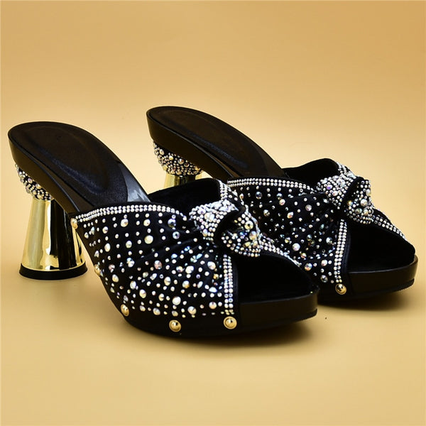Women Rhinestone High Heeled Sandals Mules Slides