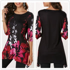 Women Half Sleeve O-Neck Floral Printed T-shirt Casual Vintage Plus Size Tops
