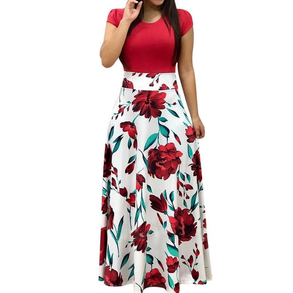 Corachic.com - Women Stylish Floral Print Patchwork Casual Short Sleeve Maxi Dresses - Dresses