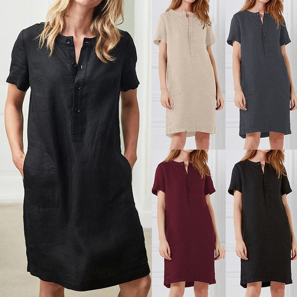 Plus Size Linen Dress Women Tunic Short Sleeve Button Vintage Casual Sundress