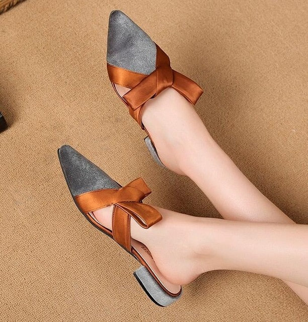 Women Pointed Toe Sandals Slippers Butterfly-knot Low Square Heel Shoes