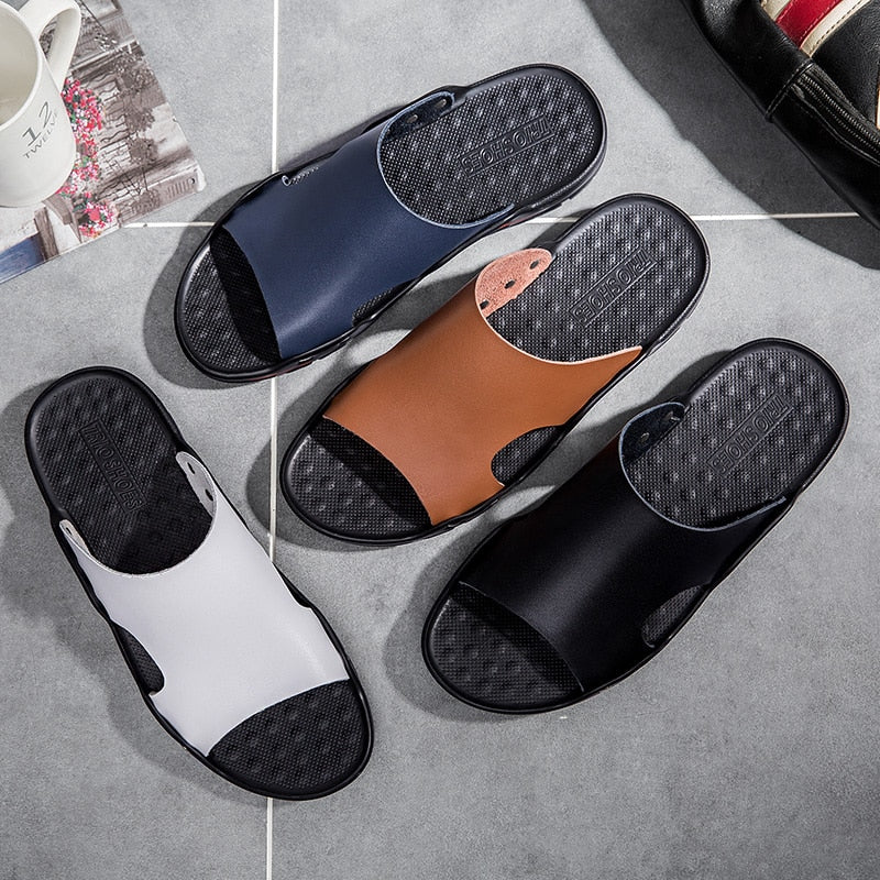 Men Summer Flat Sandals Casual Beach Flip Flops Shoes Non-slip Slippers