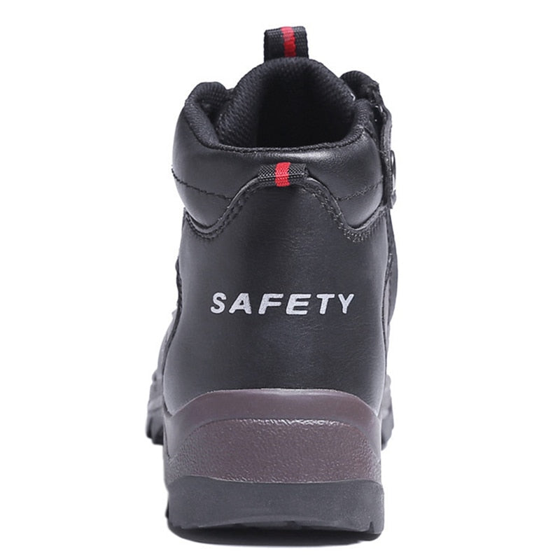 Men Safety Shoes Cow Leather Steel Toe Work Shoes Warm Safety Boots Wear-Resisting Work Boots