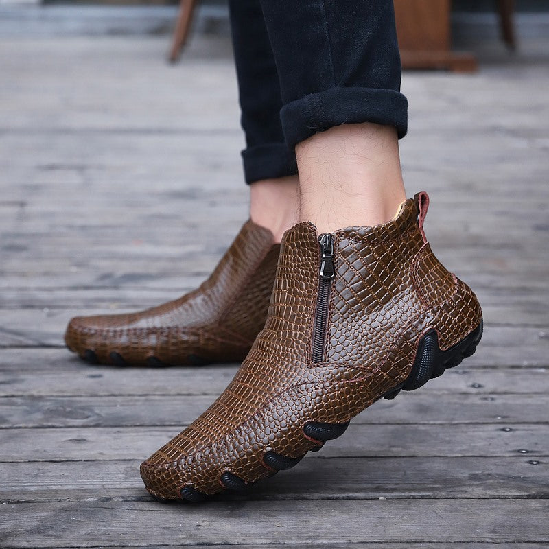 Men's Genuine Leather Flats Boots Zipper Ankle Shoes