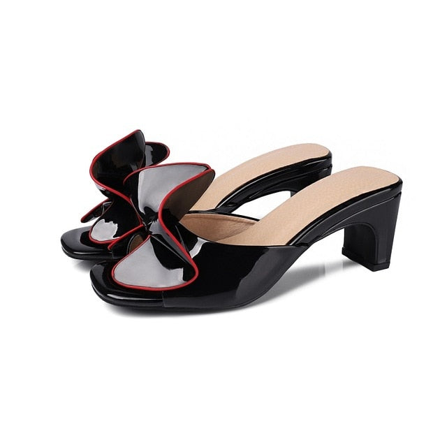 Women Patent Leather Slippers Mules Butterfly Knot High Heel Slip On Sandals