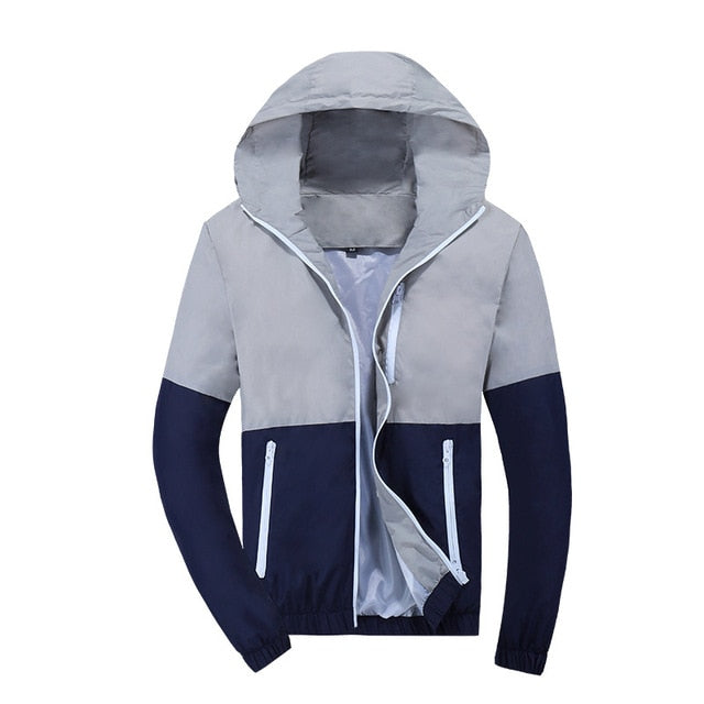 Men Windbreaker Fashion Hooded Casual Coat Thin Men Jacket
