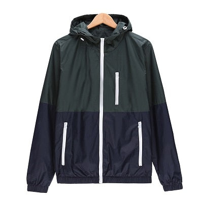 Windbreaker Men Casual Spring Autumn Lightweight Jacket Hooded Contrast Color Zipper up Jackets Outwear