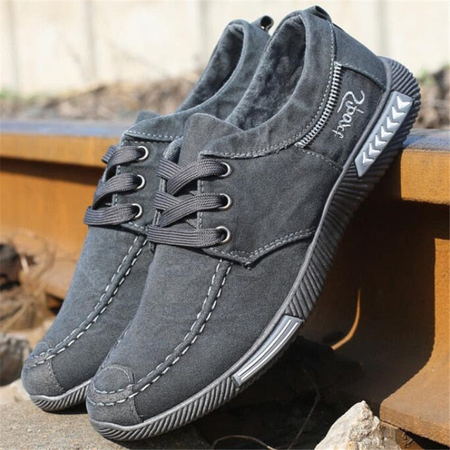 Men Denim Lace-Up Casual Breathable Footwear Sneakers Shoes