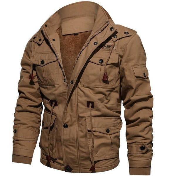 P/&E Mens Faux Leather Casual Thicken Fleece Bomber Jacket Parka Coat