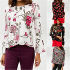 Women Casual Elegant O-neck Blouse Floral Print Top Long Sleeve Blouse Shirt