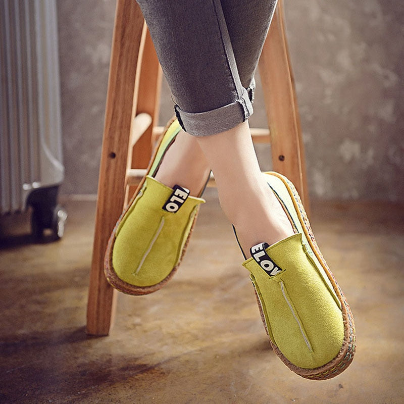 Women Flats Platform Flock Shoes Causal Slip On Patchwork Sewing Suede Footwear