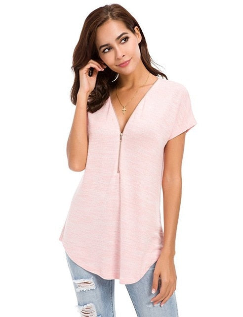 Women Short Sleeve Zipper Blouse T-shirts Colored Cotton Deep V-Neck Loose Tops