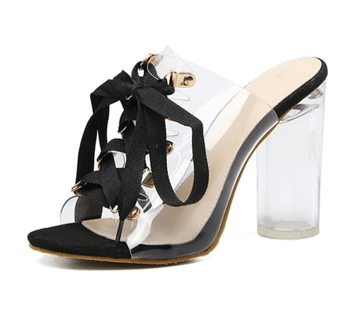 Women PVC Transparent Gladiator Sandals Peep Toe Lace-Up Mule Slides Shoes