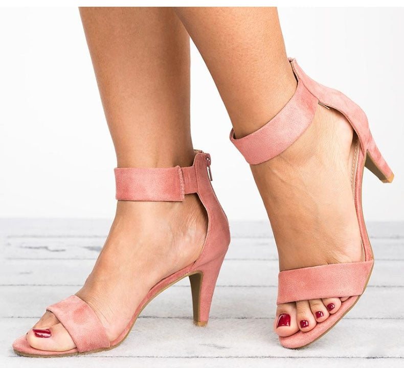 Women Open Toe With 5CM High Heels Sandals Plus Size Thin Heel Shoes