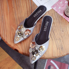 Women Half Slippers Floral Sequined Rhinestone Flats Sandals Mules