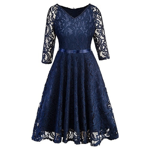 Women Evening Party Retro Gothic Hollow Out Floral Lace Dress