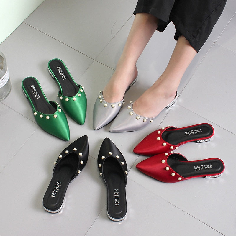 Women Pointed Toe Slippers Sandals Fashion 3cm Square Heels Beading Sandals
