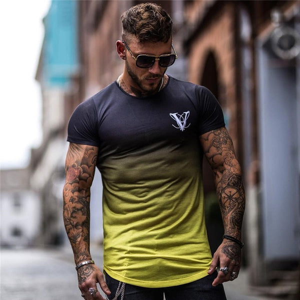Gradient color Fashion T Shirt Men Fast compression Breathable Short Sleeve