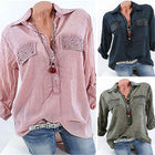 Women Plus Size Blouse Lapel Shirts Solid Color Casual Long Sleeve Drill Pocket Loose Tops