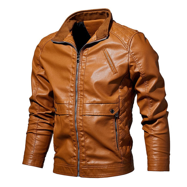 Mens Leather Jacket Fashion Vintage Leather Plus Size Stand Collar Coat