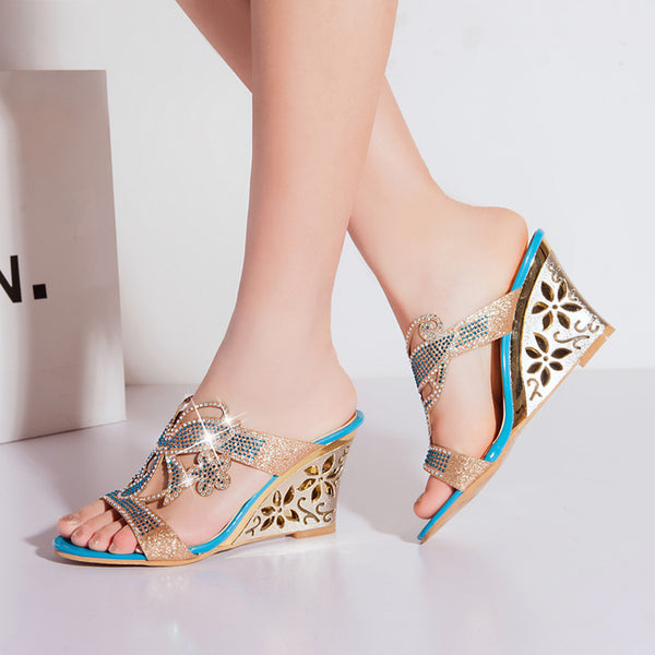 Women Rhinestone Sandals Crystals Cutout Wedge High Heel Open Toe Platform Sandals