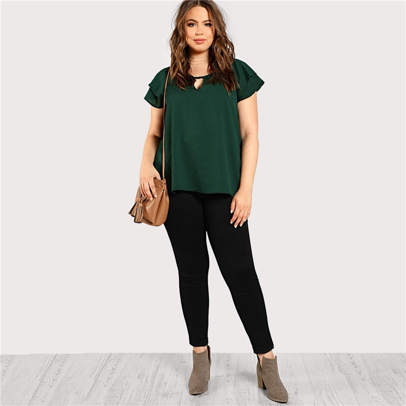 Green Plus Size Keyhole Neck Loose Top Long Blouse With Butterfly Sleeve