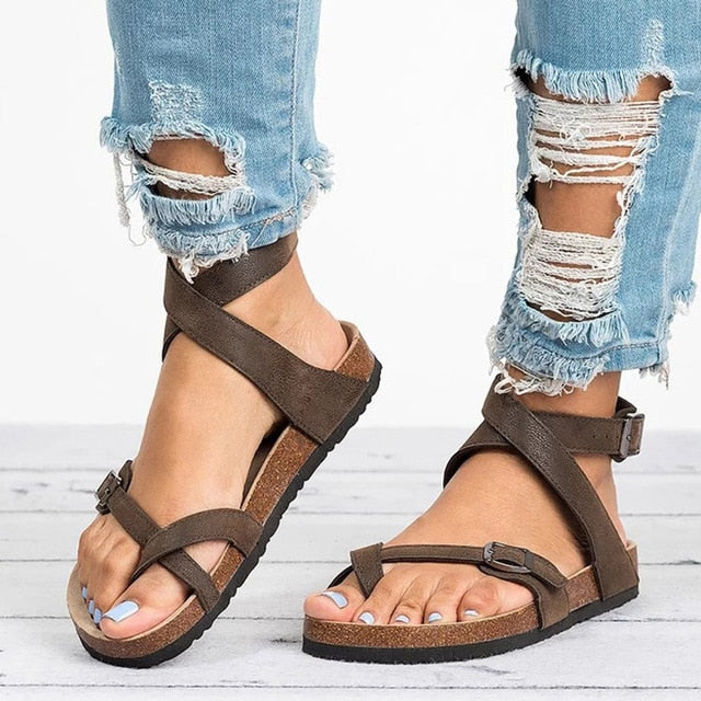 Basic Women's Summer Sandals Plus Size PU Leather Beach Flat Sandals
