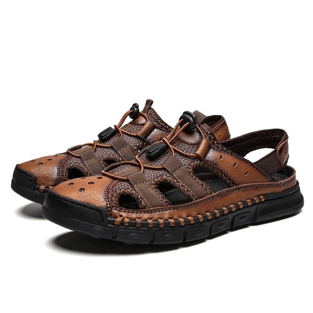Comfortable Men's Genuine Leather Soft Sandals Big Size Retro Sewing Beach Shoes