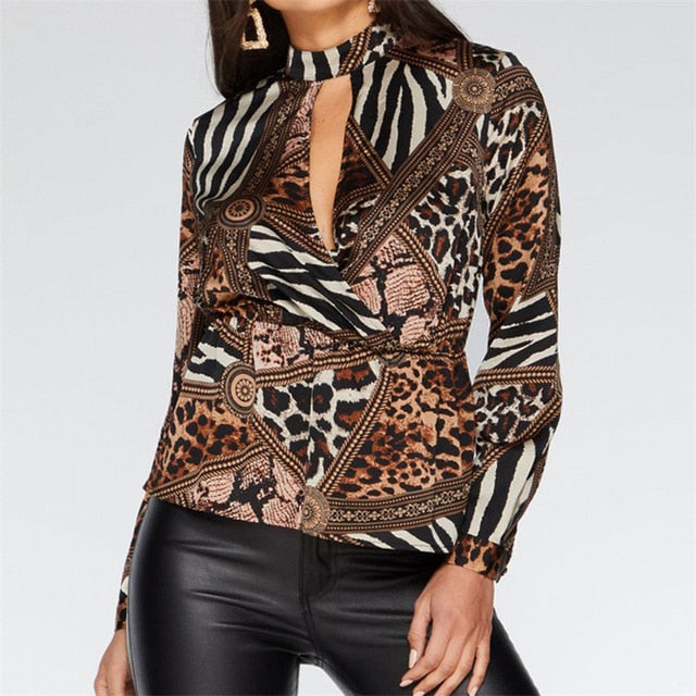 Women V-Neck Leopard Chiffon Blouse Cut Out Sexy Ladies Shirt Tops