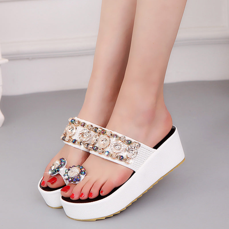 Women Crystals Platform Sandals Slippers Slides Rhinestones Beach Flip Flops