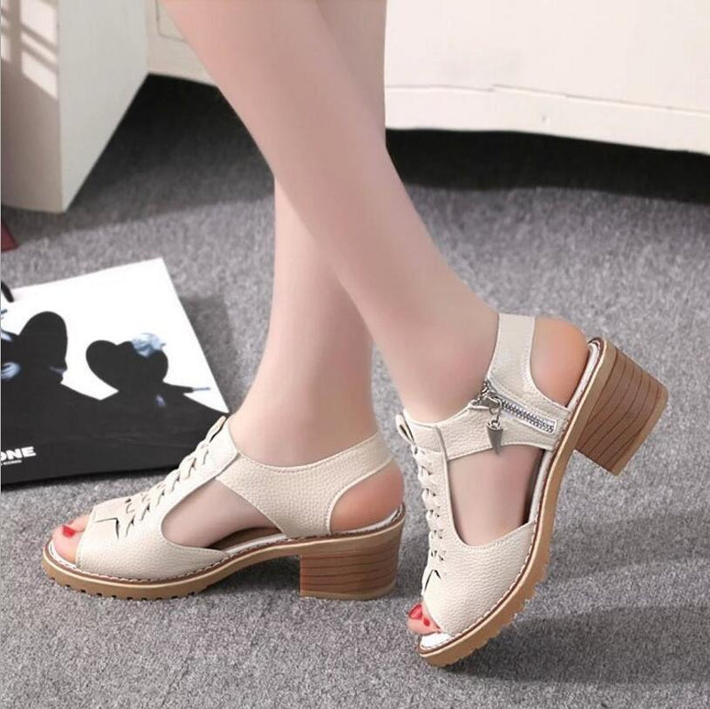 Women's Vintage Elegant Mid Square Heel Sandals Peep Toe Cross Tied Side Zip Sandal Shoes