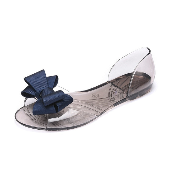 Women Sandals Open Toe Summer Jelly Shoes Butterfly-knot Flat Sandals