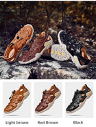 Men's Cow Genuine Leather Sandals Breathable Casual Shoes Footwear Walking Beach Sandals