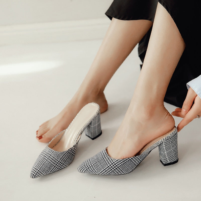 Women High Heels Slipper Mules Decors Pointed Toe Slip Shoes Slipper Sandals