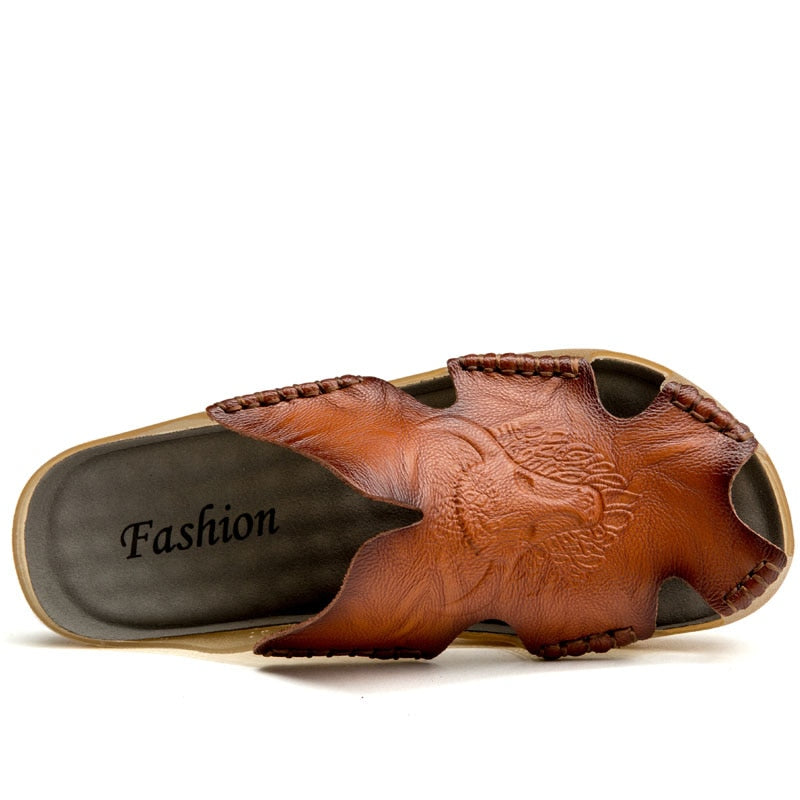 Men's Genuine Leather Non-slip Sandal Shoes Breathable Beach Flip Flops Shoes