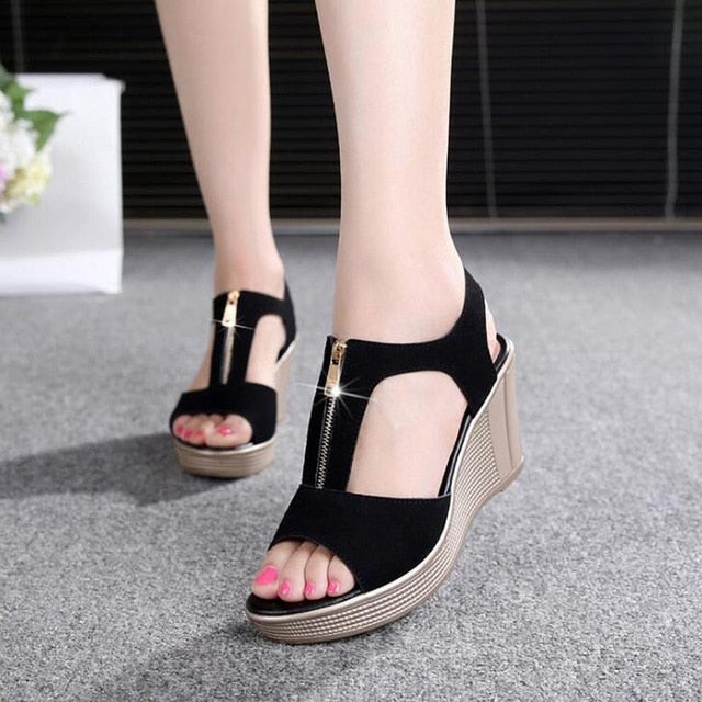 Summer Women Platform Wedge Sandals Zipper Solid Gladiator Sandals