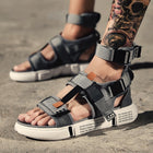 Mens Gladiator Sandals Open Toe Platform Beach Sandals Boots Rome Style Canvas Shoes