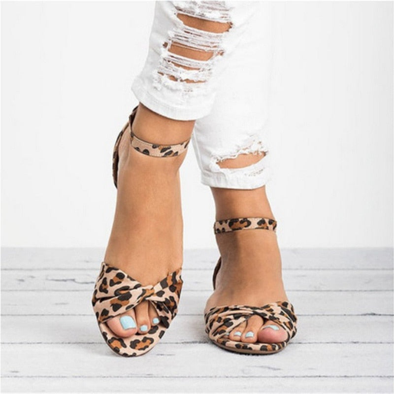 Women Leopard Print Flat Sandals Beach Peep-toe Sandals