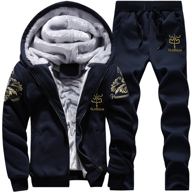 Men Fleece Warm Printed Coat Hooded Pullover Hoodie Sweatshirts+Sweatpants Suit