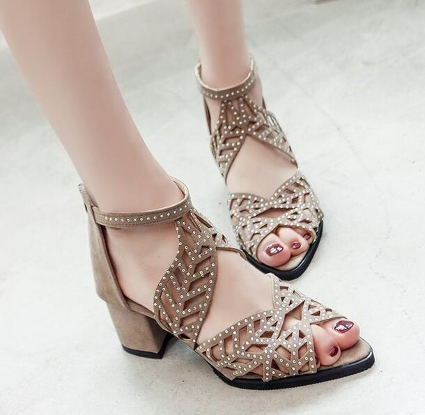 Women Leather Fish Mouth Open Toe Sandals Hollow Square Heel Shoes