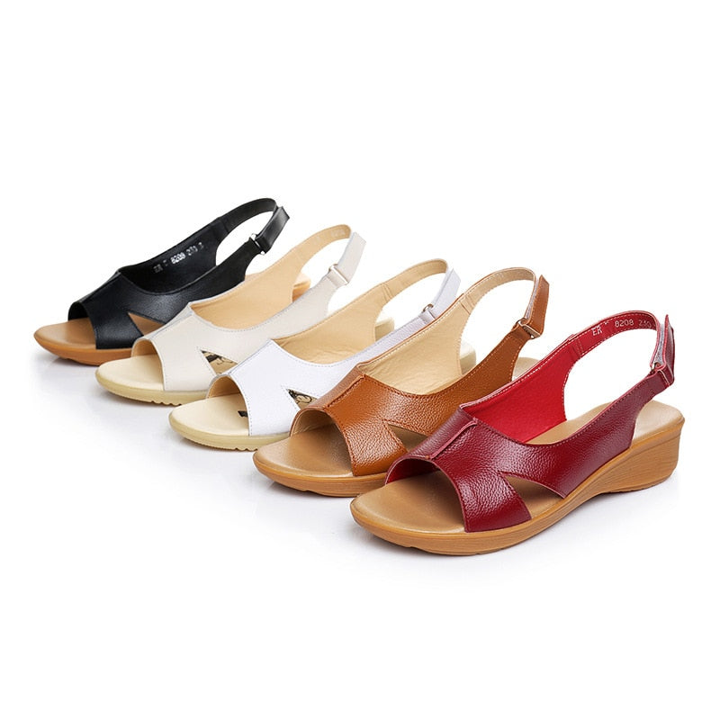 Genuine Leather Women Comfortable Sandals Gladiator Flats Shoes