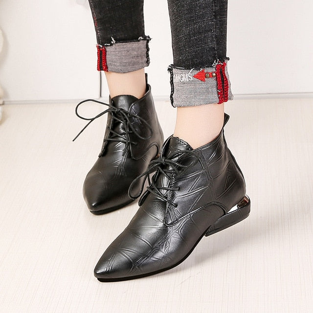 Pointed Toe Square Heel Women Boots Fashion High Heels Ankle Boots  Lace Up Leather Rubber Shoes
