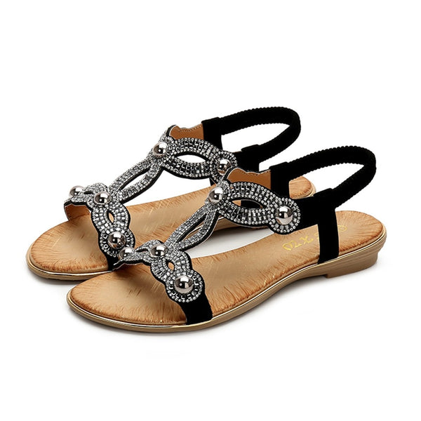 Women Crystal Flat Sandals Bohemia Style Beach Casual Peep Toe Sandal Shoes