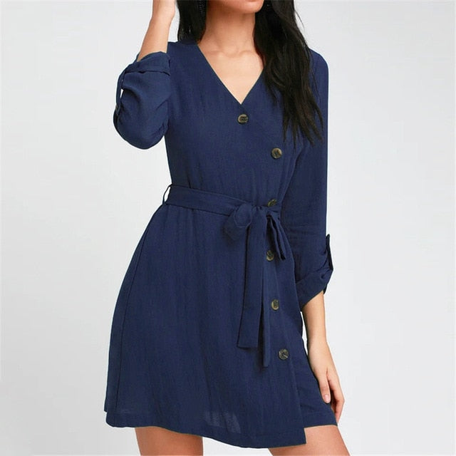 Women V-Neck A-Line Dresses Long Sleeve Mini Bandage Party Dress