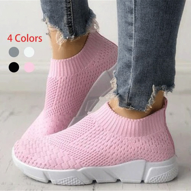 Women Shoes Sneakers Women Shoes Breathable Flyknit White Sneakers