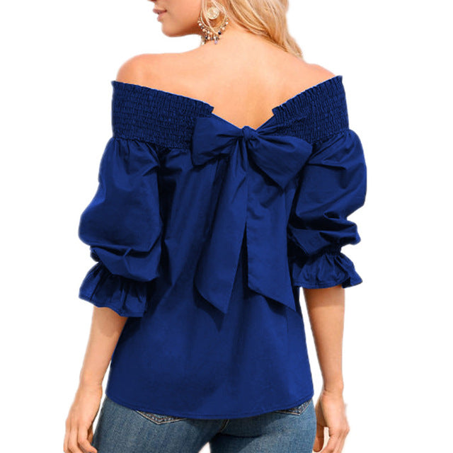 Women Sexy Off Shoulder Strapless Bowknot Slash Neck Shirts Casual Loose Plus Size Blouse Tops